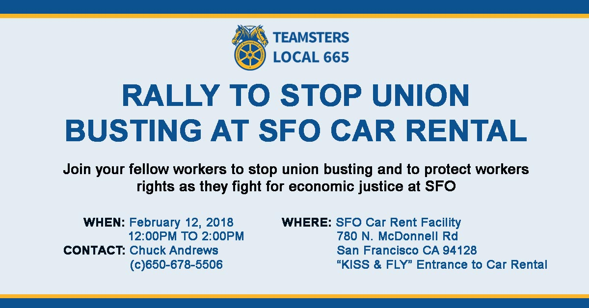 Help Us Stop Union Busting at SFO Car Rental - Monday Feb